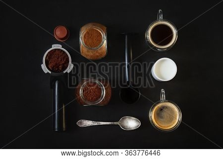Flat Lay Of Making Coffe. Isolated On Black Background. Top View, Flat Lay.