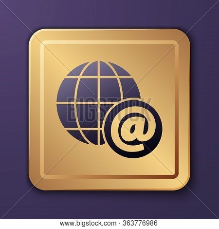 Purple Earth Globe With Mail And E-mail Icon Isolated On Purple Background. Envelope Symbol E-mail.