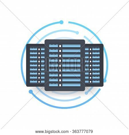 Data Center. Mainframe Service Concept Banner, Server Rack. Server Room Concept, Data Bank Center. V
