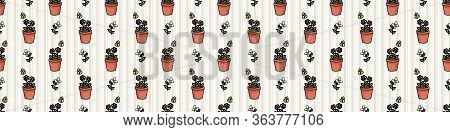 Cute Plant Pot With Bugs Seamless Vector Border. Hand Drawn Growing Garden For Stay Home Illustratio