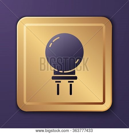 Purple Light Emitting Diode Icon Isolated On Purple Background. Semiconductor Diode Electrical Compo