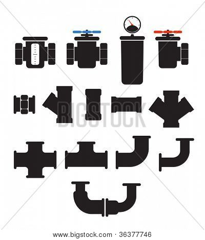 Water supply system elements vector collection. Isolated on white