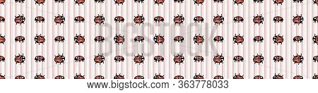 Cute Spotted Ladybug Seamless Vector Border. Hand Drawn Biology Garden Wildlife For Stay Home Illust
