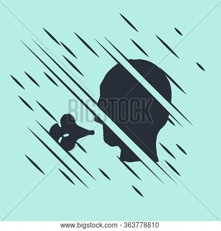 Black Man Coughing Icon Isolated On Green Background. Viral Infection, Influenza, Flu, Cold Symptom.