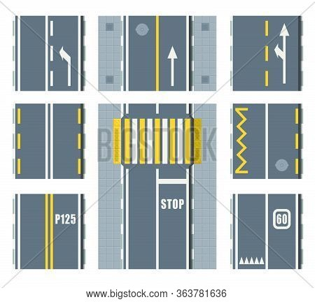Set Of Seamless Road Marking On A White Isolated Background. Top View. Straight Highway Infographic