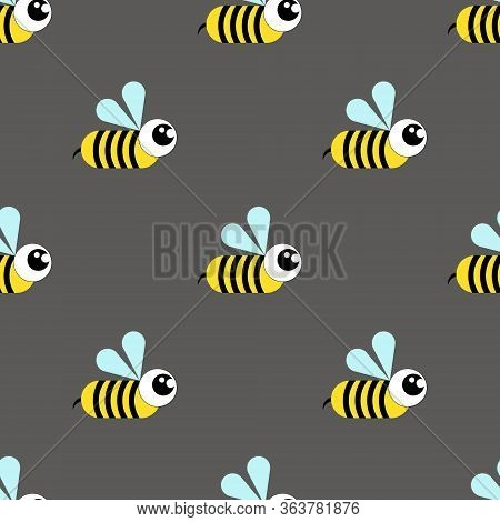 Wasp, Bee, Bumblebee Seamless Pattern On A Gray Background.flat Illustration.cartoon Style.vector Il