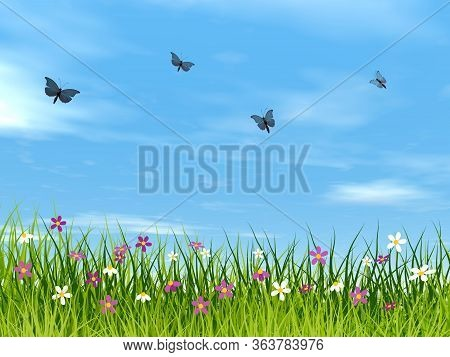 Blue Butterflies Flying Upon A Meadow By Day - 3d Render