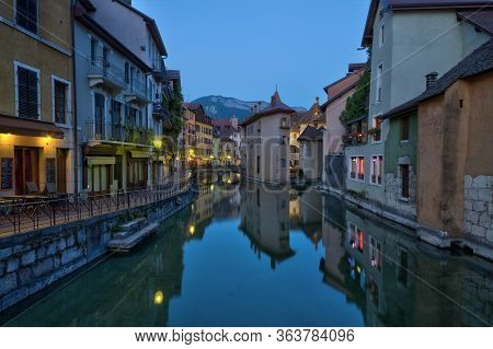 Quai De Lile And Canal In Annecy Old City With Colorful Houses, France, Hdr