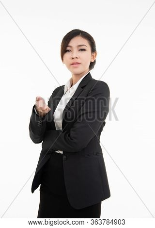 Smiling Young Asian Business Woman Hand Point Gesturing Welcome,suggest Work. Beautiful, Adult.