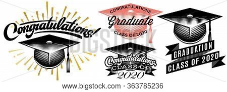 Set Of Graduation Vector Class Of 2020. Congrats Grad Congratulations Graduate.