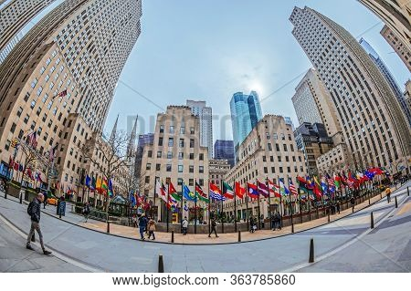 New York, Usa - March 6, 2020: Large Angle View Of Rockefeller Plaza. Rockefeller Center Is A Large