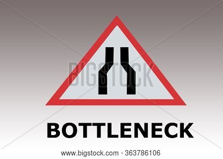 Render Illustration Of Road Sign With The Text Bottleneck, Isolated Over Gray Gradient.