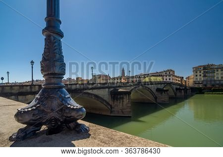 Base Of The Lamppost In The Style Of The Renaissance And Bridge