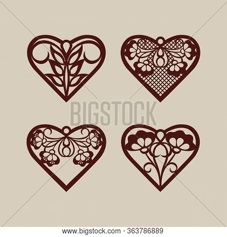 Set Stencil Lacy Hearts With Carved Openwork Pattern. Template For Interior Design, Layouts Wedding