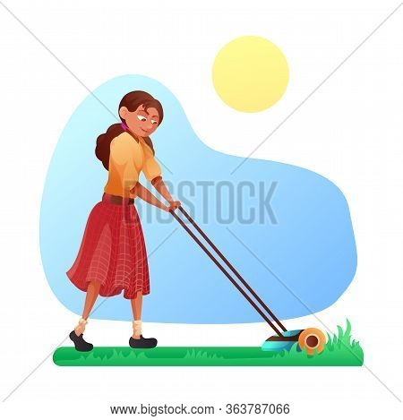 Cartoon Friendly Smiling Young Woman Mowing Grass With Lawn Mower On Yard Or In Park. Gardening And