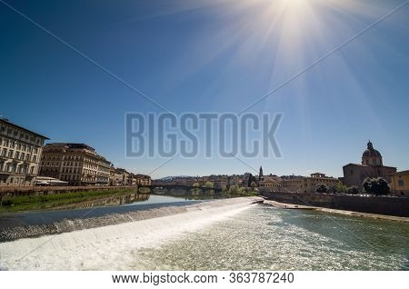 Sunny View Of Church San Frediano In Cestello And River Arno.