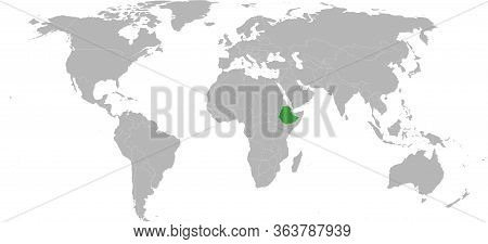 Ethiopia African Country Highlighted On World Map. Light Gray Background. Perfect For Business Conce