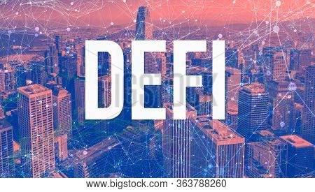 Decentralized Finance Theme With Abstract Network Patterns And Downtown San Francisco Skyscrapers