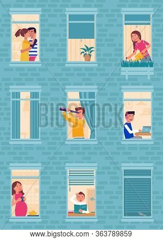 Apartment Windows Flat Vector Illustration. Multi-storey House Wall Exterior Background. Building Si