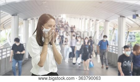 Double Exposure Image Of Asian Worker Or Business Woman Wearing Surgical Mask Hands Covered Her Mout
