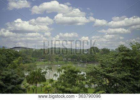 Summer Landscape With Public Park Blue Sky And Cloud.