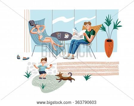 Rest At Home Flat Vector Illustration. Parents And Child In Courtyard Cartoon Characters. Sunbathing