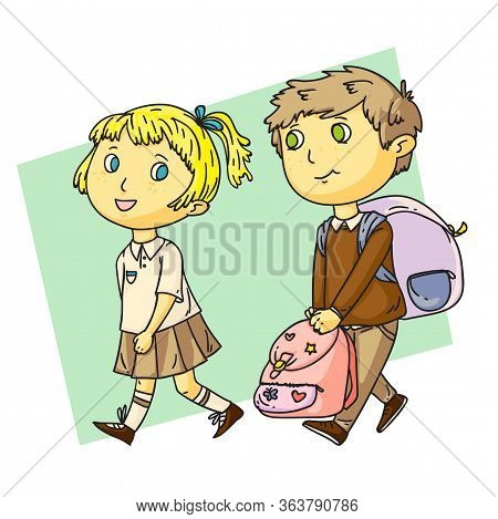 Funny Boy Helps Cute Girl With Heavy School Bag. Children Characters On Green Backdrop. Cartoon Isol
