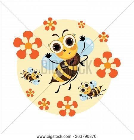 Honey Bee. Swarm Bees. Cartoon Cute Character. Emblem, Sticker, Label, Mascot. Cartoon Cute Bee. Vec