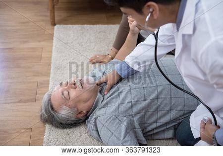 Cpr (cardiopulmonary Resuscitation) To Senior Elder Old Man Having Chest Pain Or Heart Attack At Hom