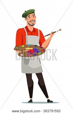 Smiling French Artist Flat Vector Illustration. Painter With Color Palette Cartoon Character. Man Wi