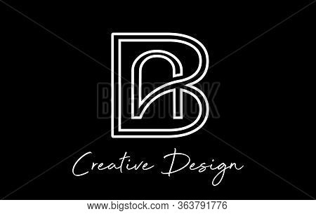 White Monogram Creative Ab A B Letters Logo On Black Background. Abstract Business Logo Design Templ