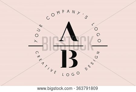 Letters Ab A B Logo Set As A Stamp Or Personal Signature. Simple Ab Icon With Circular Name Pattern.