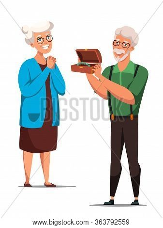 Festive Congratulation Flat Vector Illustration. Old Man Giving Present To His Wife. Elderly People