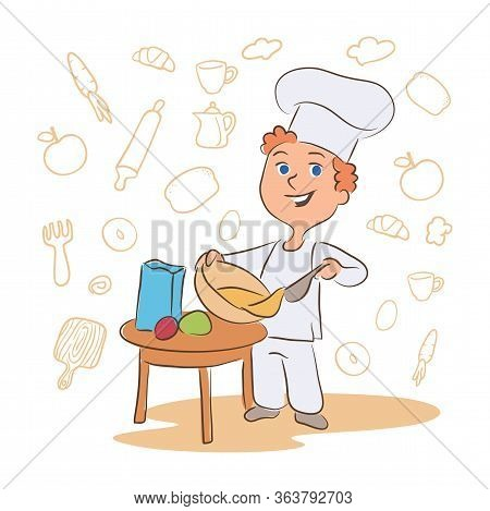 Kid Cooking Dish Cartoon Vector Character. Little Chef Hand Drawn Illustration. Culinary Workshop, C