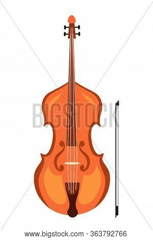 Violin And Bow Flat Vector Illustration. Stringed Musical Instrument Isolated On White Background. W