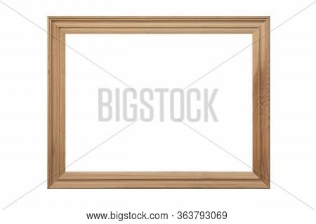 Carved Vintage Wooden Photo Picture Frame Isolated On White Background