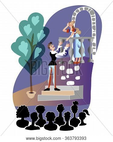 Theater Performance Flat Vector Illustration. Audience Silhouettes Watching Actors In Medieval Costu