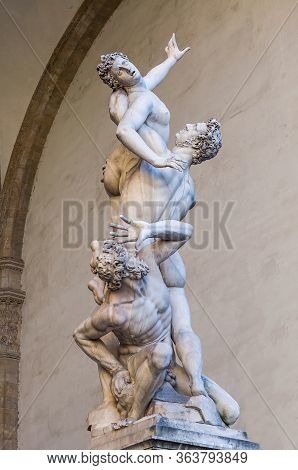 The Rape Of The Sabine Women. White Marble Sculpture In Florence