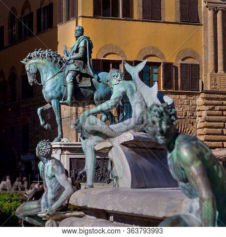 Equestrian Statue Of Cosimo I De Medici In Florence, Italy.