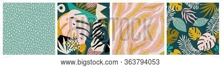 Collage Tropical And Polka Dot Seamless Pattern Set. Modern Exotic Design For Paper, Fabric, Interio