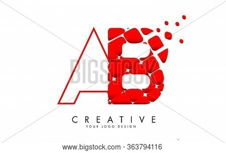 Letters Ab A B Design With Red Shattered Blocks And Monogram Vector Illustration. Ab A B Icon With P