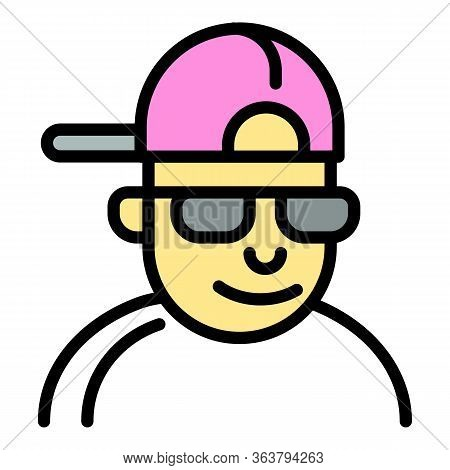 Hiphop Man Icon. Outline Hiphop Man Vector Icon For Web Design Isolated On White Background