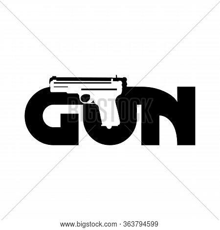 Creative Design Letter Gun With Gun Vector In Flat Style. Flat Design Letter Gun On The White Backgr
