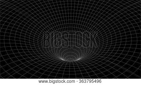 3d Wireframe Tunnel. Wormhole Vector Illustration. White Lines On Black Background.