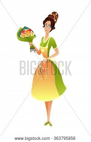 Female Flower Seller Offer Bouquet Cutout Vector. Woman Florist Wearing Elegant Dress In Shop Illust
