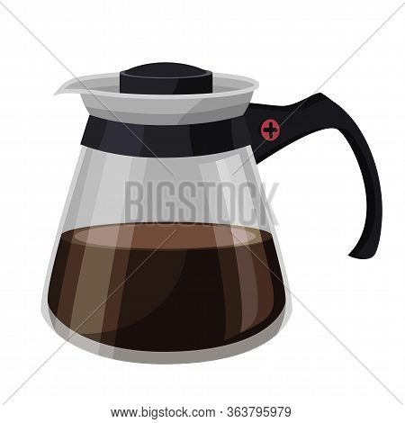 Cartoon Glass Pot With Coffee Isolated On White. Container For Cooking Hot Aromatic Drinks. Brown Ca
