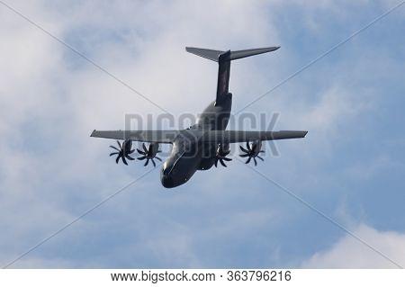 Fairford / United Kingdom - July 12, 2018: Airbus A400m Atlas Ec-400 Transport Plane Display For Ria