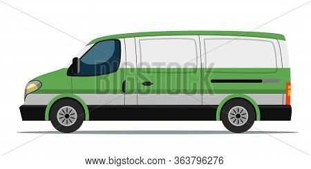 Cash Collection Bank Car Van Isolated On White. Banking, Currency Transportation. Money Payment And