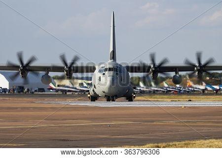 Fairford / United Kingdom - July 12, 2018: Italian Air Force Lockheed C-130j Mm62177 Transport Plane