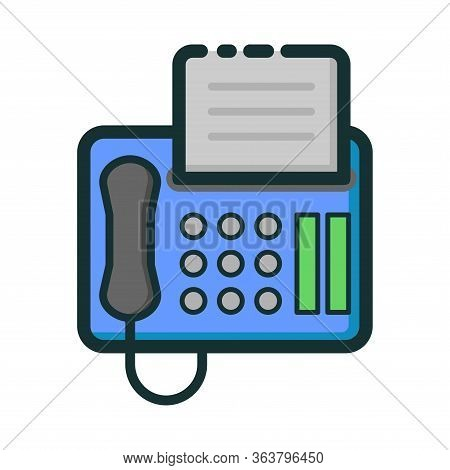 Vector Illustration Of A Fax Machine. Suitable For Design Elements Of Modern Office, Business And Te